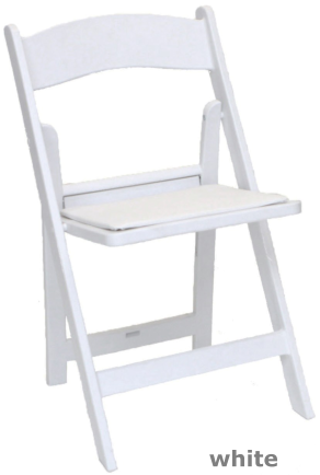 white folding wedding chair front