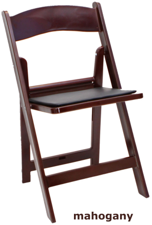 mahogany folding wedding chair front