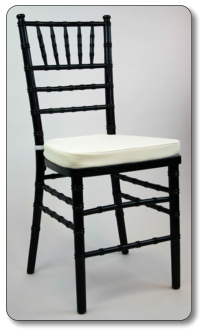 chiavari stacking chair, black with ivory cushion