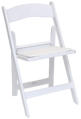 white resin folding chair -front