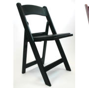 black resin folding chair -side view